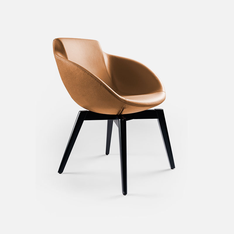 Brown leather design armchair Vogue